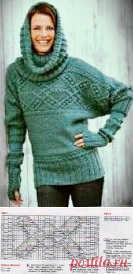 Пуловер, воротник-хомут и митенки | Пуловер, свитер, жакет.