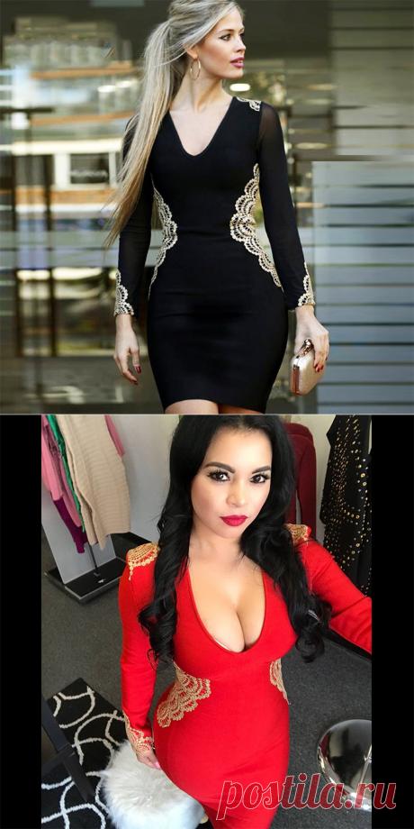 2018 новейшее летнее Бандажное Платье женское знаменитости вечерние с длинным рукавом v образный вырез вышивка сексуальное ночное платье женское облегающее платье Vestidos купить на AliExpress