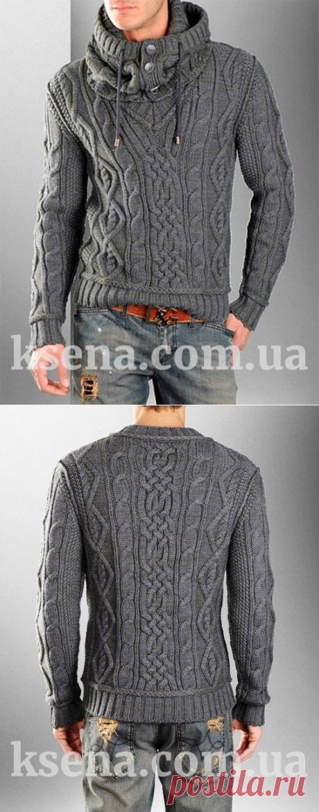 купить мужской свитер - мужской пуловер - вязание на заказ - Ksena