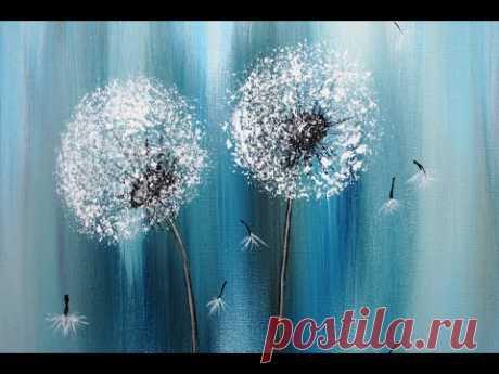 Painting Dandelion/For Beginners/Easy Acrylic Painting/Pusteblumen Malen/Für Anfänger/V314