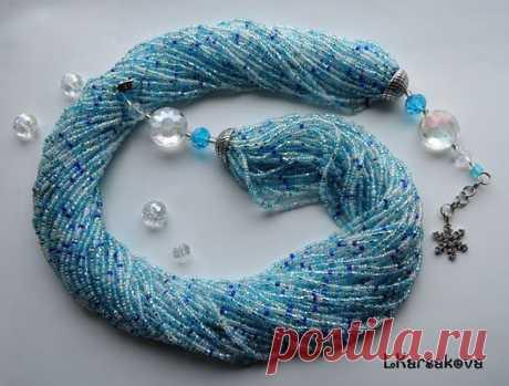 Купить Жгут колье Снежное утро - комбинированный, серебристо-голубой, бирюзовый цвет, снежный