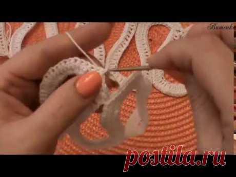 Соединение двух ленточных полотен крючком - YouTube