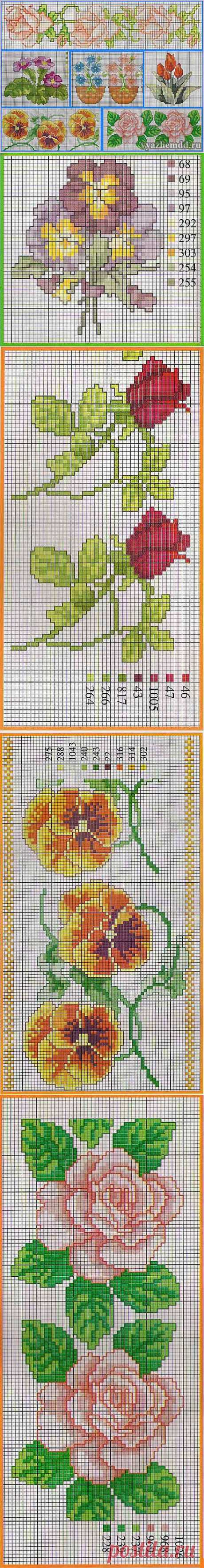 Маленькие схемы вышивки цветов | Милые мелочи