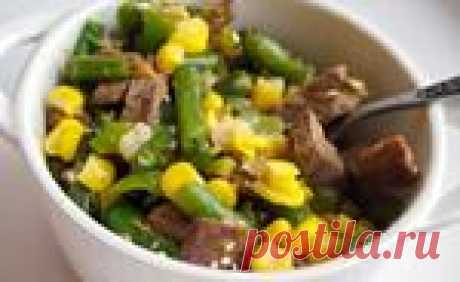 Теплый мясной салат