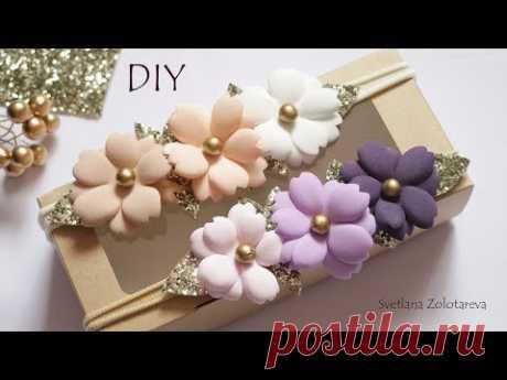Повязка для малышки с цветами из фоамирана