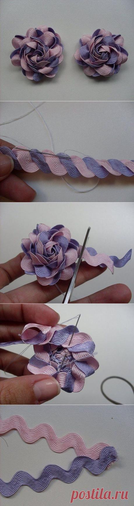 Милые цветочки из зигзагообразной тесьмы — Сделай сам, идеи для творчества - DIY Ideas