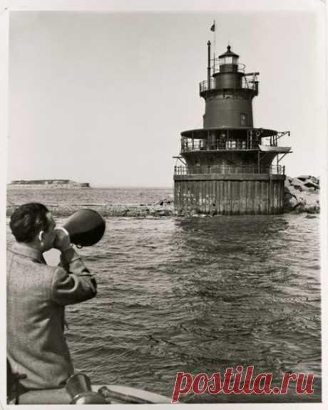 Собирая сведения для переписи населения, этот человек пытается докричаться до обитателей маяка на Оленьем острове в Бостоне, штат Массачусетс. Откликнулся ли кто-нибудь на его зов? Представьте, да!