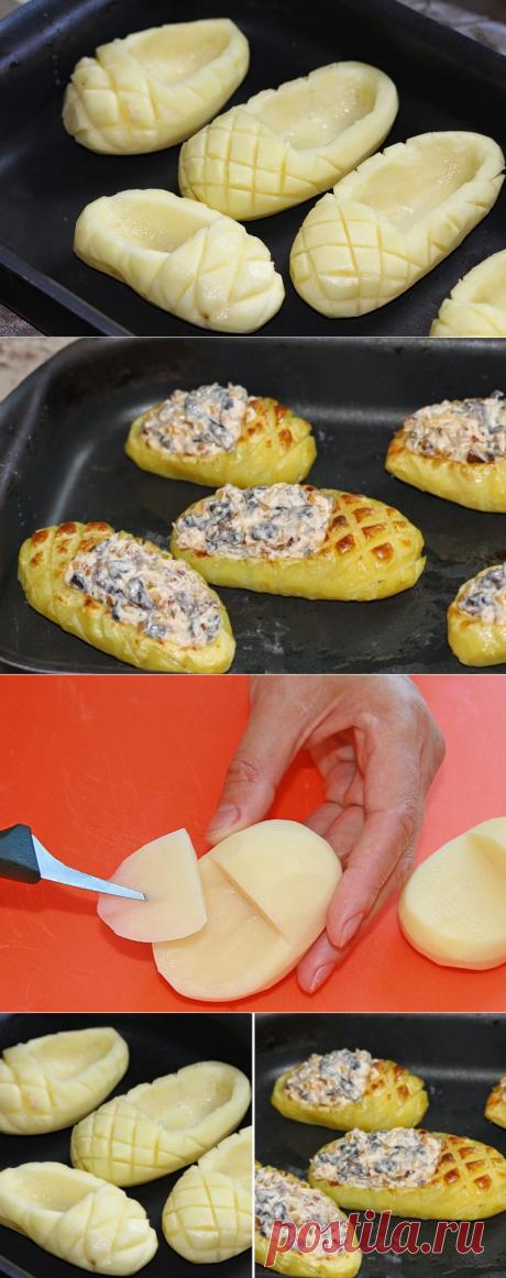 «Лапти» из картофеля с грибной начинкой