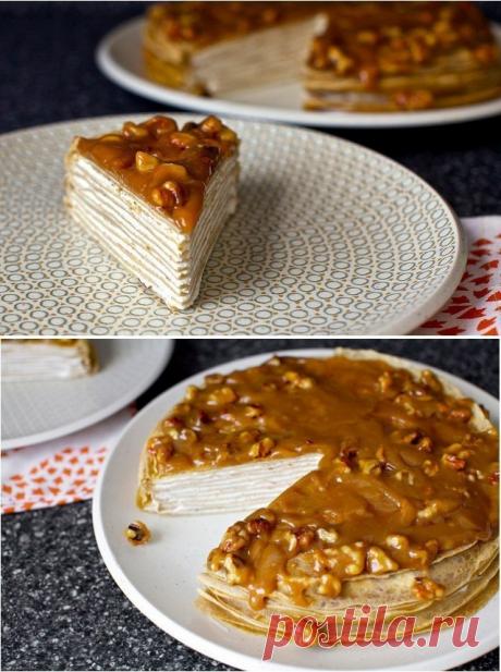 Как приготовить блинный торт из бананов с йогуртом и глазурью из грецкого ореха - рецепт, ингредиенты и фотографии