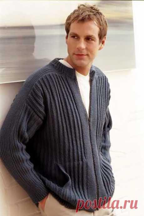Мужской жакет спицами, связанный резинкой,  Вязание для мужчин Размеры жакета: S/M, L/XL. Для вязания вам потребуется: пряжа Rowan All seasons cotton 17 (19)мотков по 50 гр. Плотность вязания жакета спицами: