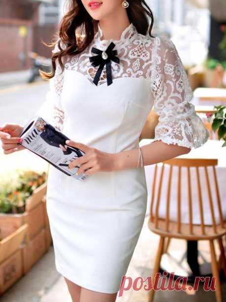 Lace Paneled Bow Mini Dress