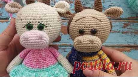 Бычок крючком, символ года, мастер класс, описание игрушки. cow bull crochet