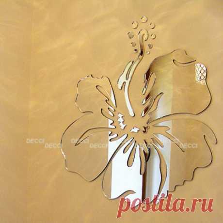 DECCIDECCI.RU интернет магазин наклеек. Купить зеркальную наклейку на стену Гавайский цветок