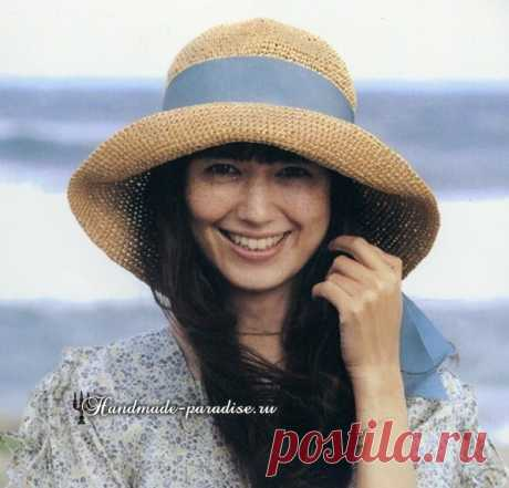 Летняя шляпа с большими полями крючком Летняя шляпа с большими полями крючком. Схема вязания крючком сезонного модного аксессуара - летней шляпки с большими полями.