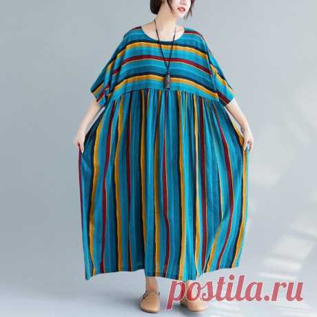 Green beach Print Striped Female Loose Cotton Casual Dress - idetsnkf