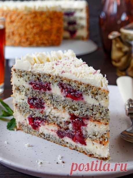 Рецепт макового торта с вишней на Вкусном Блоге
