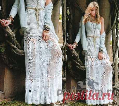 Белая юбка крючком