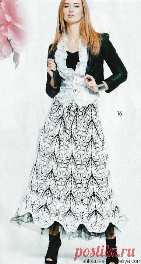 Длинная юбка красивым узором крючком