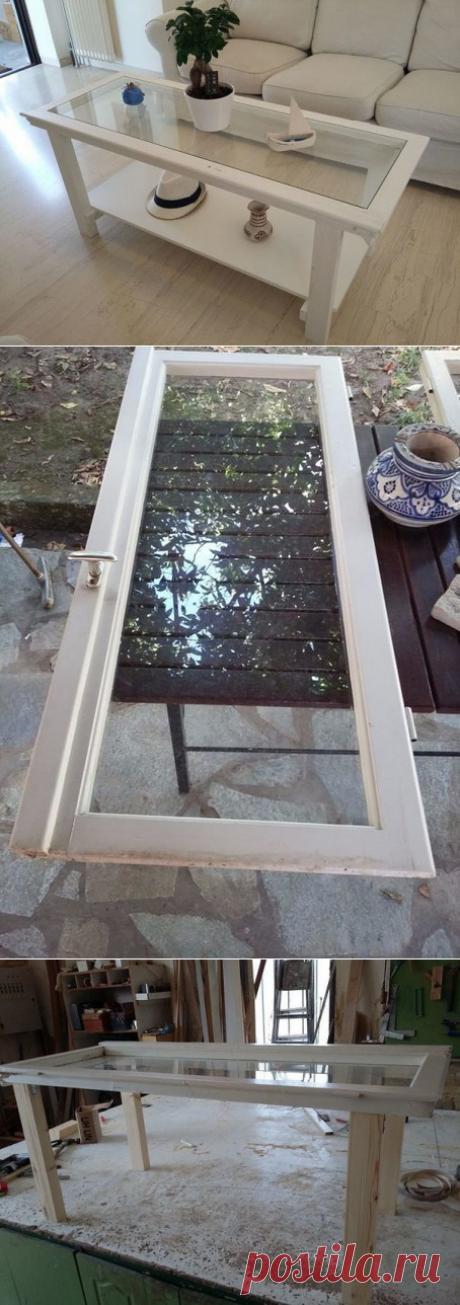 Журнальный столик из старого окна своими руками