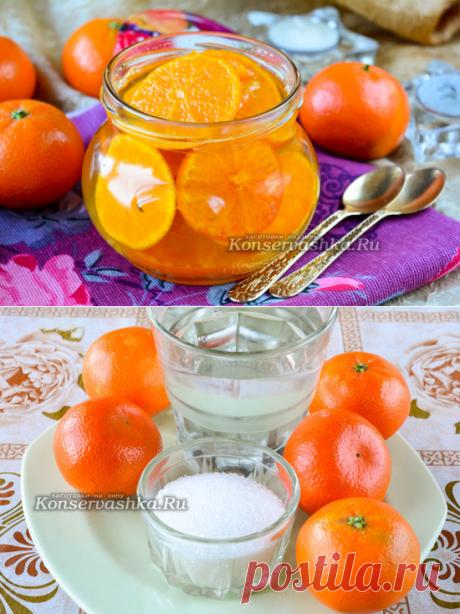 La confitura de la mandarina, muy sabroso y de un modo excepcional hermoso