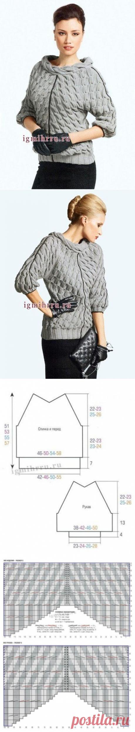 Элегантный пуловер Изысканный фасон, необычные узоры, модный рукав 3/4, декор ворота.  Женщина в таком наряде – просто воплощение шика и стиля!