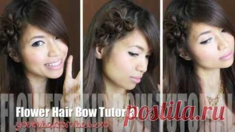 Прическа с цветами из волос. Видео МК.