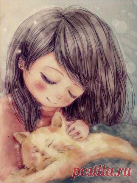 Бывает, накроет тоскою, и хочется плакать навзрыд... Приходит душа шерстяная... о чём-то своём говорит... Зароешься в пузо мурчащее, расскажешь, как сложно жить... И кошка мягкими лапами камень снимет с души...
