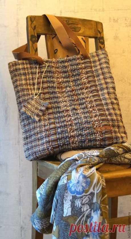 """Купить Домотканые сумка и ключница """"Деним"""" - комбинированный, деним, сумка ручной работы, тканая сумка"""