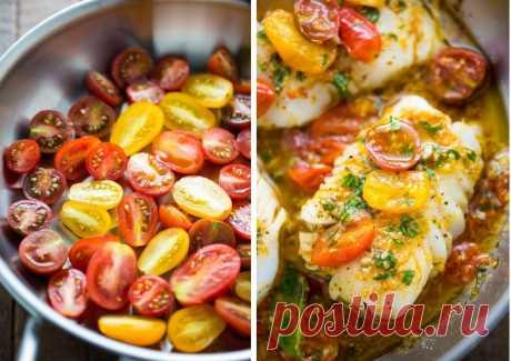Треска, запеченная в томатном соусе с базиликом: рецепт
