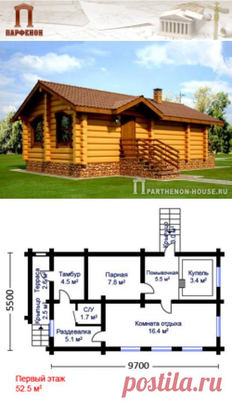 Проект деревянной бани из крупномерного бруса ЭББ 52-5  Проект традиционной деревянной бани. В бане есть все необходимые помещения, инженерные системы для комфортного времяпровождения и отдыха.   Терраса: да. Купель + душ: да. Комната отдыха: да. Парилка: да.   Площадь общая: 52,50 кв.м. Площадь холодных помещений: 8,10 кв.м. Площадь комнаты отдыха: 16,40 кв.м.   Технология и конструкция: Строительство бани из бруса.