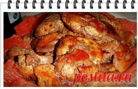Куриная печень по-анжуйски – кулинарный рецепт