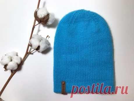 Двойная шапка от макушки спицами разного размера из пуха норки в 3 нити.Мастер-класс.