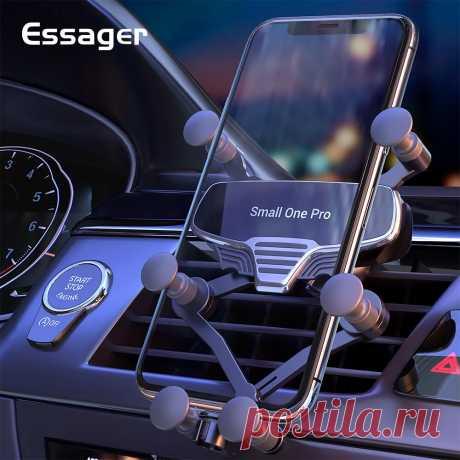 Essager Gravity Car Phone Holder Universal Air Vent Mount Car Holder Clip Mobile - US$7.99