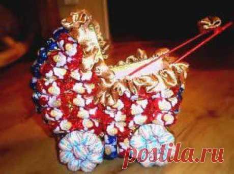 Коляска из конфет, мастер класс коляска из конфет, оригинальный подарок своими руками, букеты из конфет своими руками мастер класс