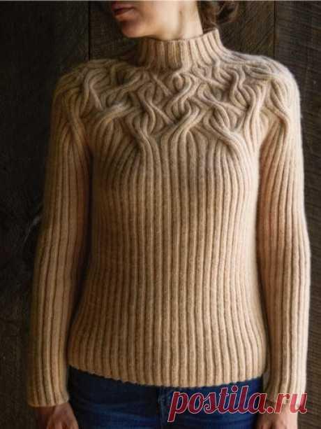Свитер с круглой кокеткой спицами Botanical Yoke — Красивое вязание