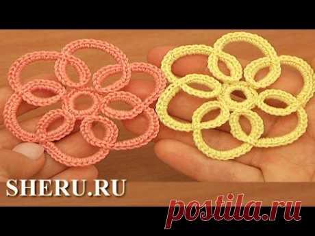 Crochet Falt Flower Pattern la Lección 100 flor Plana con navyazkoy