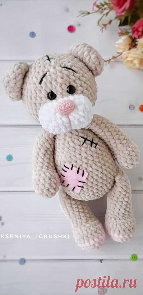 PDF Мишка Тедди крючком. FREE crochet pattern; Аmigurumi animal patterns. Амигуруми схемы и описания на русском. Вязаные игрушки и поделки своими руками #amimore - медведь, плюшевый медвежонок, мишка из плюшевой пряжи.