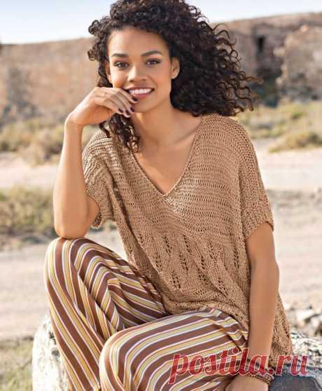 Свободный пуловер спицами | Все-Вязание Вязаный свободный пуловер спицами. Пряжа (59% хлопка, 41% вискозы; 105 м/50 г) — 350 (400) г цв. корицы; спицы №4 и 4,5; крючок №3,5.