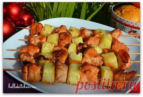 Шашлык без вреда для фигуры из курицы с ананасом - Советы на каждый день