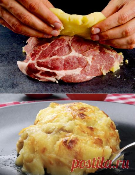 Кладем мясо под картофель и запекаем: ужин просят повторить