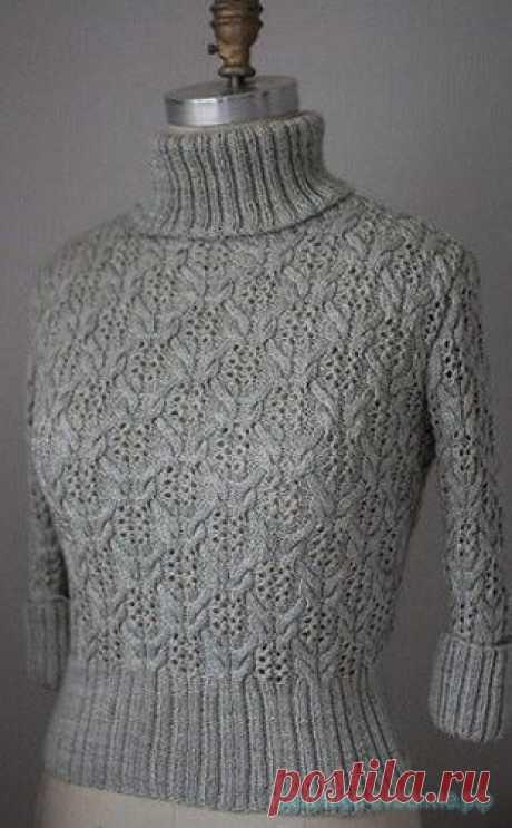 Красивое вязание   Стильный свитер спицами.