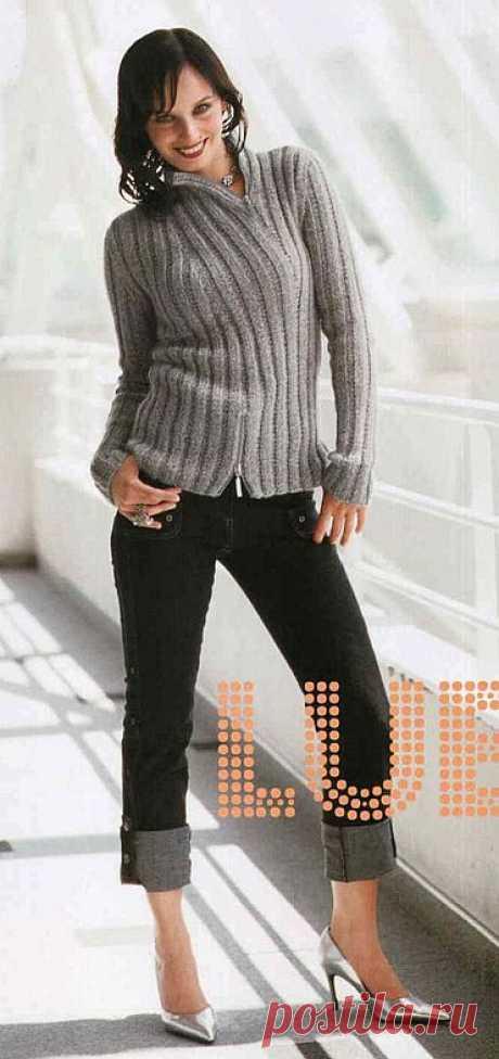 Серый пуловер поло из мохера в резинку,на молнии