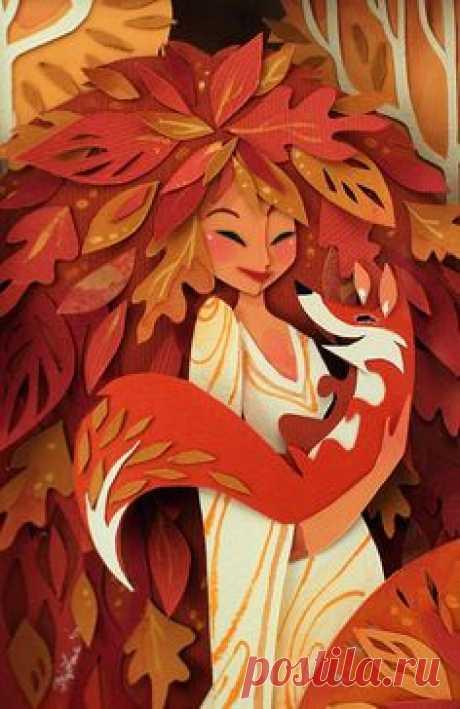 """Иллюстрация """"Осень"""" художницы Brittney Lee. Бумажные многослойные иллюстрации"""