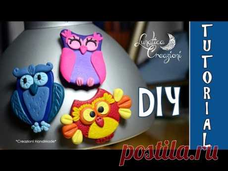 Polymer Clay Tutorial: Calamite con Gufi in pasta polimerica | How to make Owl Magnets - YouTube