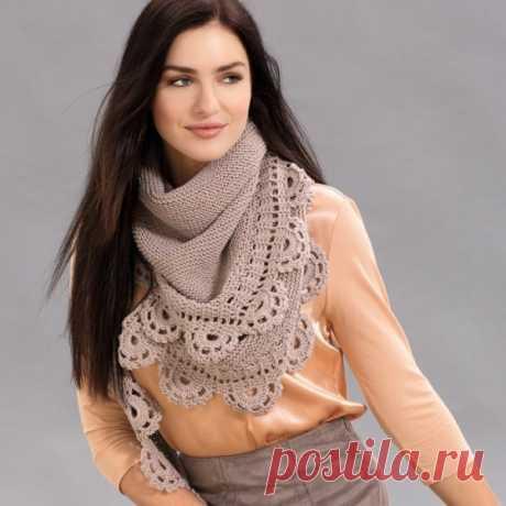 Красивый вязаный платок с кружевной каймой | otlicno.ru