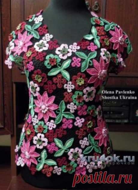 """Блуза Цветочная россыпь в технике ирландского кружева. Работа Елены Павленко Блуза «Цветочная россыпь» связана в технике ирландского кружева. Работа авторская. Использовалась пряжа «Виолет», """"Макси"""" 100% хлопок и для отделки мативов"""