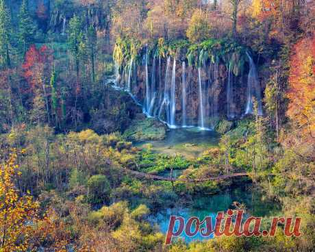 Картинки водопад, национальный парк, плитвицкие озера, осень, пейзаж - обои 1280x1024, картинка №364860