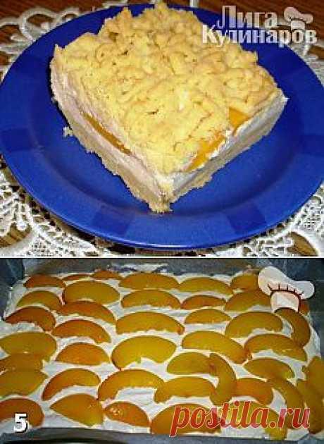 Творожник с персиками — рецепт пошаговый от Лиги Кулинаров