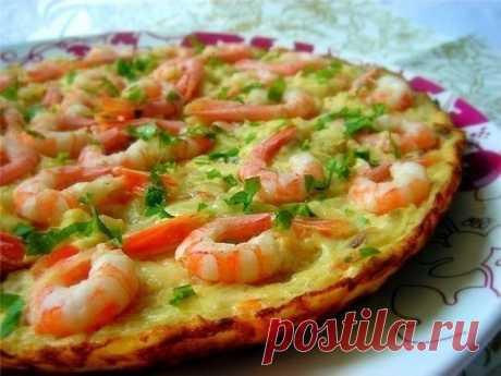 Испанская tortilla с креветками и цуккини