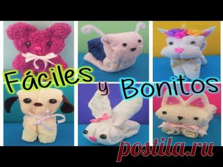 ANIMALES DE TOALLA - IDEAS PARA RECUERDITOS - YouTube
